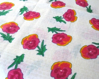 "Vintage Fabric - Hot Pink - Pansies - Cotton Linen - By the Yard x 44""W - 1960's - Retro - Sewing Material - Craft Supply - Yardage"