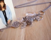 Silver Long Necklace, Key Necklace, Silver Chain Necklace, Dangle Charm Necklace, Antique Necklace