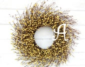 MONOGRAM YELLOW Twig Wreath-Summer Wreath-Rustic Twig Wreath-Monogram Door Wreath-Initial Wreath-Fall Wreath-Wall HangingChoose your Scent
