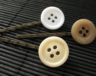 Brown Button Hair Pins. Button Bobby Pins in Brown, Cream and White. Handmade Hair Accessories.