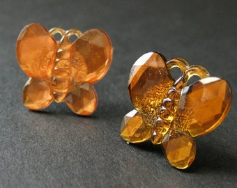Orange Butterfly Earrings. Orange Earrings. Silver Stud Earrings. Butterfly Earrings. Post Earrings. Handmade Earrings. Handmade Jewelry.