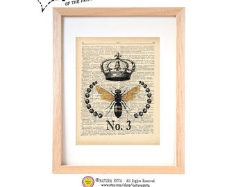 Bee with crown dictionary print- N03-Bee art print-Bee on book page-Garden print-Crown print-Upcycled Dictionary page - by NATURA PICTA