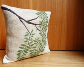 White cushion cover, pillow cover, organic wool, hand felted, modern home furnishing, eco friendly home furnishing, eco friendly gift