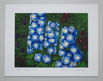 Blue Delphinium Flowers Giclee Print of Painting