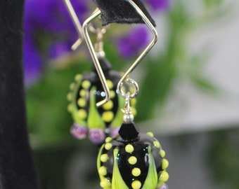 SALE***Amazing lampwork pods black yellow lavender hand formed silver filled ear wires