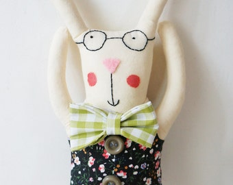 handamde bunny rabbit doll perfect for baby boy christening with bow-tie and waistcoat