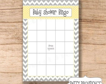 Baby Shower Bingo Card/ Grey Chevron/Yellow Baby Shower Bingo Game Card