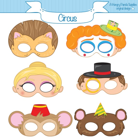 circus printable party masks circus costume clown mask lion