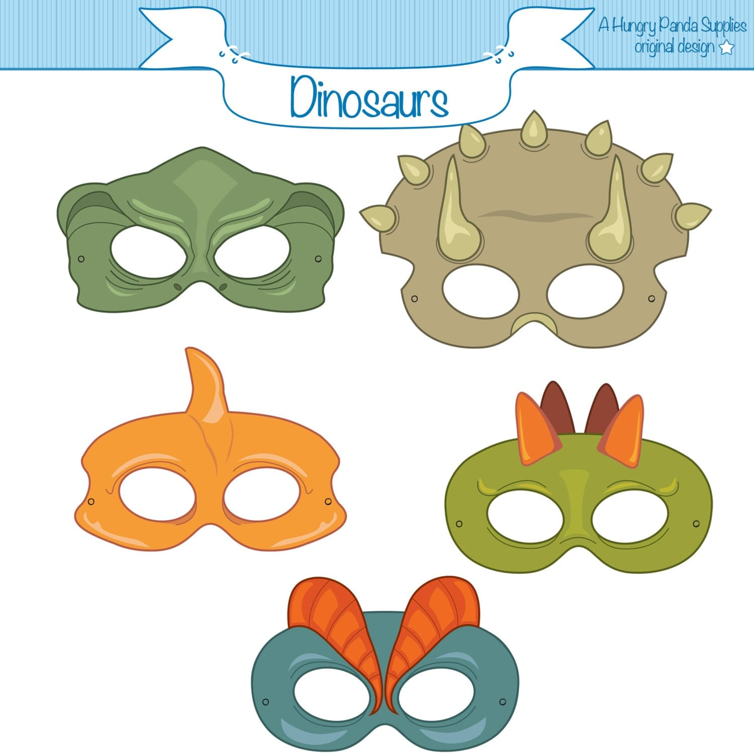 Adaptable image intended for printable dinosaur masks