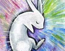 White Rabbit Art, Rain Print, Pastel Decor, Animal Illustration, Childrens Room Art, 8x10 Wall Art, Sleeping Pet, Depression, Mental Health