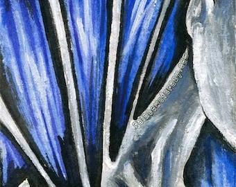 Surreal Art, Fibromyalgia Print, Chronic Pain, Mental Health Decor, Blue, Black and White, Large Wall Art