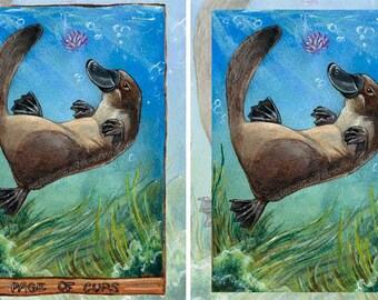 Cute Platypus, Custom Size Print, Page of Cups Tarot Card, Large Wall Art, Animism Tarot Deck, Animal Illustration, Lotus Flower Gift