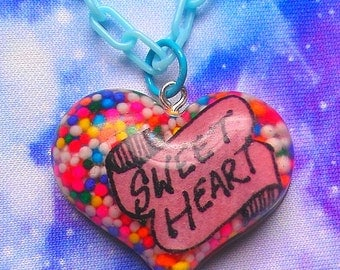 Candy-Filled Sweet Heart Resin Necklace, Sprinkles, Kawaii