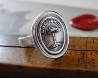 Wax Seal Ring - When Struck I Rise - antique wax seal jewelry Palm Tree Latin rebound motto - fine silver size 5 by RQP Studio