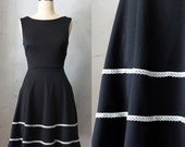 COQUETTE BLACK - Little black dress with pockets // flared circle skirt // ivory crochet // bridesmaid // vintage inspired // day // LBD