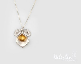 Yellow Citrine Necklace - Birthstone Necklace - Custom Initial Jewelry - Sterling Silver Necklace - Personalized necklace - Calla Lilly
