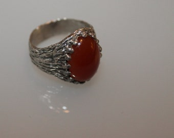 Awesome Vintage Handmade Sterling Silver and Deep Amber Tinted Stone SIZE 10.25