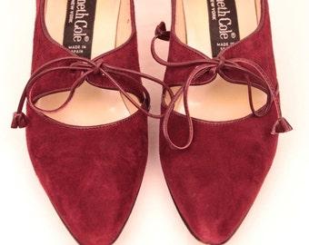 vintage suede granny heels // ties with tassels // sz 6N