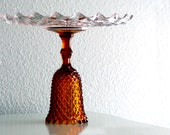 Tall Cake Stand / Glass Cake Stand Cake Pedestal Cake Plate / Gold Amber Wedding Centerpiece / Autumn Fall Vintage Weddings
