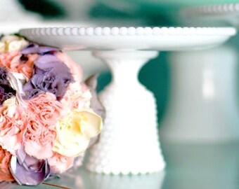 Milk Glass Cake Stand - Hobnail Design / Mini Cake Stand Cupcake Stand Truffle Pedestal Candy Dish / Jewelry Holder Soap Dish / Wedding Gift