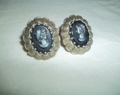 Evening Profile Cameo Clip On Earrings -Signed West Germany