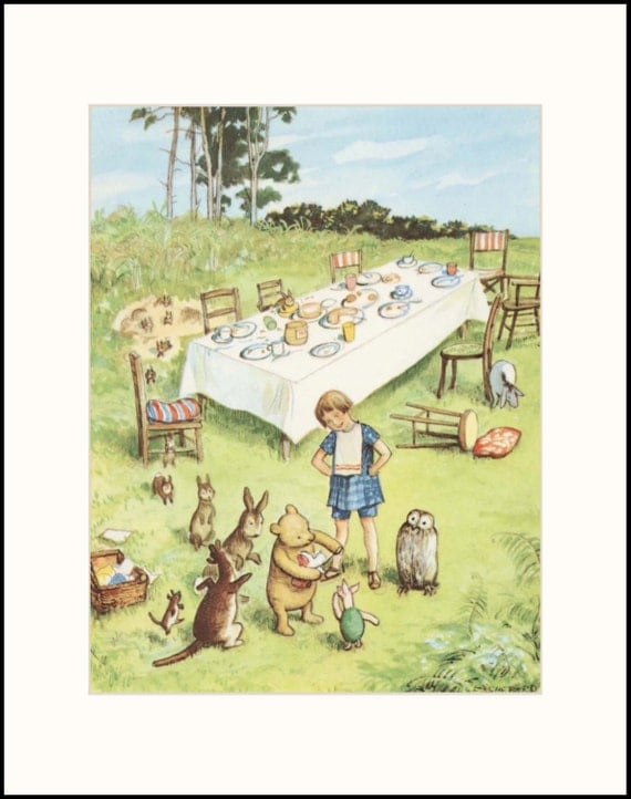 Classic winnie the pooh birthday party art by cloudnineprints for Classic winnie the pooh wall mural