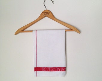 Vintage White and Red Kitchen Towel Retro Linen Towel