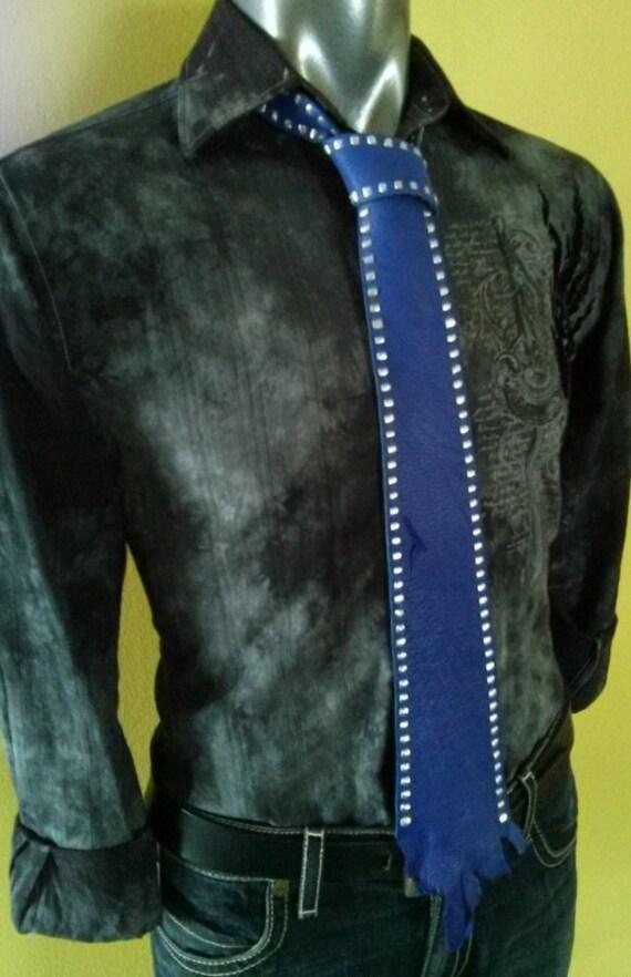 Blue Tie | Blue Necktie | Mens Blue Tie | Mens Neckties | Groomsmen Ties | Wedding Necktie | Unique Mens Ties | Leather  Necktie | Cool Ties