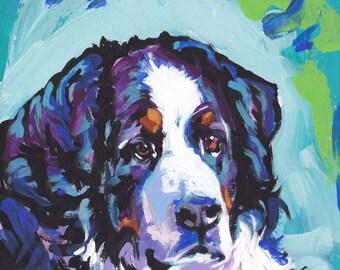 Bernese Mountain Dog art print of modern pop art berner painting bright colors 12x12