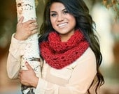 Infinity Scarf- Cranberry Red - Christmas Scarf - Holiday Scarf