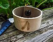 Two Feathers Bracelet - Hand Burned Leather Deerskin Cuff