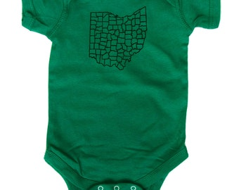 Ohio Counties - Irish Green Baby One-Piece