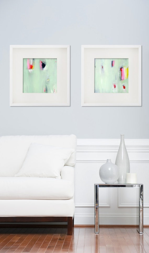 Set of two giclee prints from abstract paintings by duealberi for Bathroom ideas 8x8