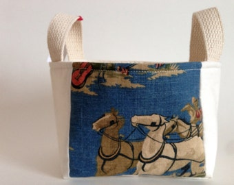 Father's Day Gift Basket: Western Basket for Him - Vintage Wild West Fabric Gift Basket for Dad - Storage Basket, Home Organization, Decor