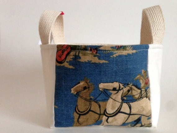 Father's Day Gift Basket: Western Basket for Him - Vintage Wild West Fabric Gift Basket for Dad - Storage Basket, Home Organization, Decor