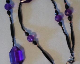 Big, Beautiful, Dark Lavender Beaded ID Lanyard or Necklace