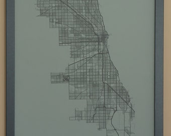 Chicago City Map Poster - Black and Gray