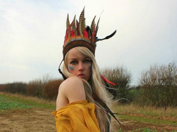 Tribal festival feather headpiece, feather headband, bohemian headpiece