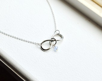 Silver Infinity Necklace- Swarovski Crystal Bead- Personalized Gifts-  Birthstone Color- Customizable- Sterling Silver Chain