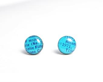 blue stud earrings blue studs modern jewelry gift idea for her blue earrings resin jewellery funky earrings vinyl record earrings