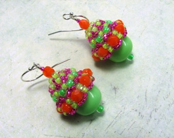 Neon Seed Bead Earrings, Neon Earrings, Seed Bead Earrings, Vintage Lucite Earrings, Orange Earrings, Green Earrings, Pink Earrings, Dangle