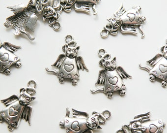 10 Cat Angel charms with wings halo and heart antique silver 26x22mm DB74979