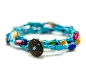 Turquoise Bright and Bold, Summer, Beach, Multi Color Shell Crochet Triple Wrap Bracelet