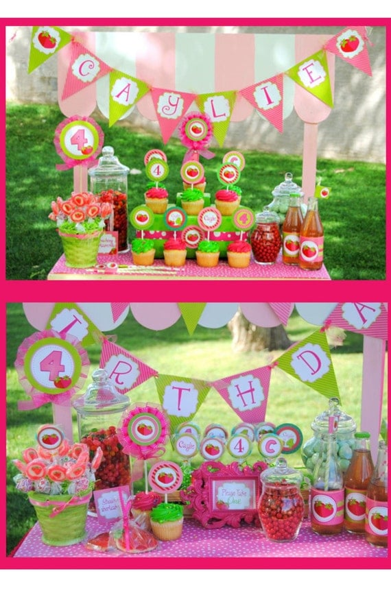 strawberry shortcake birthday party complete by krownkreations