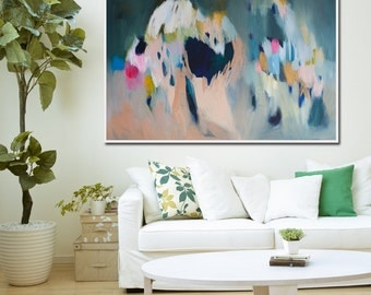 "large green ABSTRACT GICLÉE  PRINT of Painting with light blue and pink  ""Shimmer Shimmer 3"""