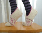 Knitted Socks / Slippers in Light Beige and Pink - Hand Knitted Women Winter Home Socks / Slippers