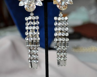 Wendy Gell Rhinestone Chandelier Earrings