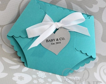 Deluxe Diaper Shape Baby Shower Invitation - Set of 10 - Light Teal, Light Aqua, Robin Egg Blue, Baby & Co, Designer Inspired, Custom