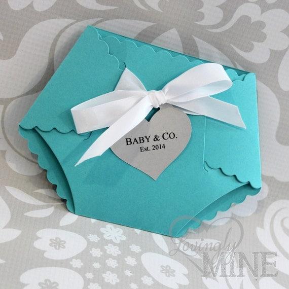 Deluxe Diaper Shape Baby Shower Invitation Set Of 10 Light
