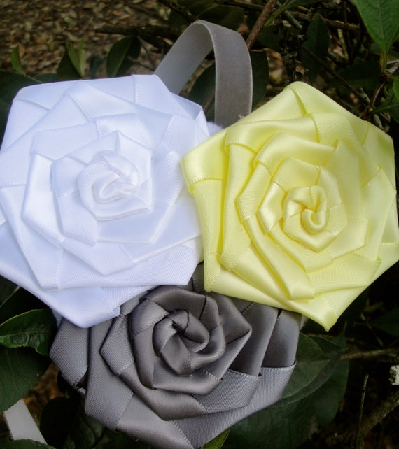 yellow and grey flower girl headband